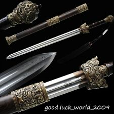 Chinese Longquan Sword Double Groove Sword Pattern Steel Copper Fitting Ebony