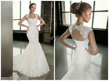 New White/Ivory Lace Wedding Dress Bridal Gown Custom Size 6 8 10 12 14 16 18