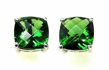 #E91010P 6ct Green Helenite 10mm Cushion Cut 925 Sterling Silver Stud Earrings