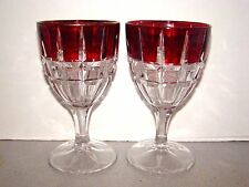 Tarentums Verona 2 Ruby Stained Water Goblets EAPG