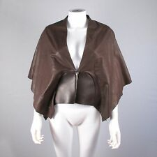 RICK OWENS CAPE - LEATHER PONCHO BROWN JACKET COAT - US 8 - 42