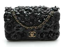 Chanel Black Leather Camellia Flower Applique Classic Small Flap Bag 15P $6,300