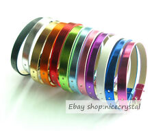 10pcs Metallic color PU Belt Wristband Fit 8mm DIY Slide Charms Slide letters