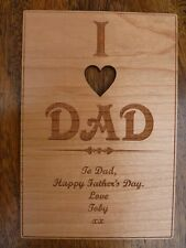 I LOVE DAD personalised wooden card | DAD/DADDY/GRANDAD: Father's Day/Birthday