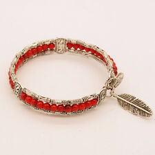 Charm Women Bohemian Vintage Silver Feather Turquoise Bangle Bracelet Jewelry