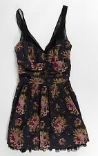 Free People Summer Dress Size 8 Floral Black Mesh Sleeveless Lined Short Flare