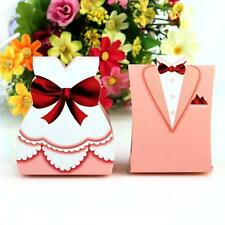 25 pairs  Pink Dress & Tuxedo Bride Groom Wedding Favor Ribbon Candy Boxes