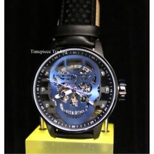 New Invicta Blue Skull TY2807 Mechanical S1 Rally Black IP Leather Men's Watch
