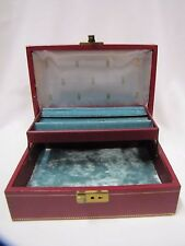 Vintage Jewelry Box with Secret Compartment and Key 2 Level Burgundy Mele