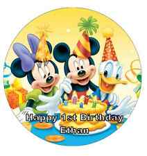 Mickey Mouse Birthday Personalised Wafer Paper Topper For Large Cake 7.5""