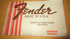 Vintage 1979 Fender Champ Vibro-Champ Guitar Amplifier Owners Manual Collectors!