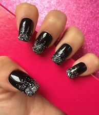 Full Cover Hand Painted False Nails. Square Black Glitter Ombré. 24 Nails.