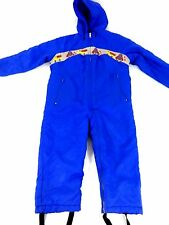 MONTGOMERY WARD BOYS BLUE NYLON INSULATED WINTER SNOWSUIT ONE PIECE SIZE 4