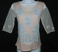 AYS MADE IN ITALY - Sz XS Gorgeous Ladies / Girls Pink Top w/ Mesh & Embroidery