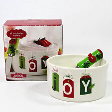St. Nicholas Square FA LA LA Joy Dip Mix Set Bowl Spreader Holiday Gift Tags
