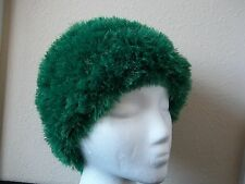 Hand knitted bulky & soft beanie/hat,  fuzzy green
