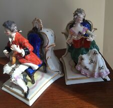 Antique POTSCHAPPEL? PORCELAIN FIGURAL VASE PAIR SEATED FIGURINE CHAIR MUSICIAN