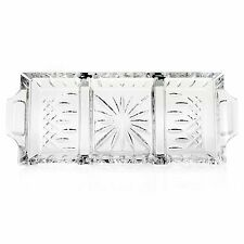 """(NIB) Waterford Crystal Lismore 3 Sectioned 13.5"""" Serving Tray  $210.00 Retail"""