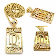 MENS  DREAM CHASERS ICED OUT PENDANT STAINLESS STEEL ROPE  CHAIN NECKLACE