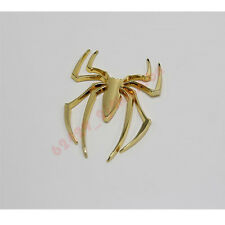 Universal Golden 3D Spider Metal Badge Decal Car Sticker Adhesive Design Decor