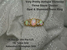 Victorian 18ct Gold three stone Opal & Diamond Ladies Dress Ring  Hmkd 1895 UK Q