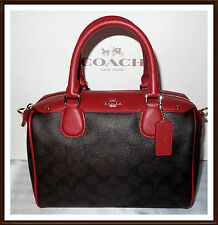 NWT NEW $295 Coach Leather Signature Mini Bennett Satchel Hand Bag BROWN & RED