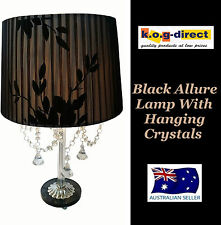 BLACK ALLURE TABLE LAMP WITH DETAILED ORGANZA SHADE AND HANGING CRYSTALS HW-63
