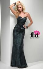 FLIRT BY MAGGIE SOTTERO TEAL BLACK PROM FORMAL DRESS SIZE 6 P2789