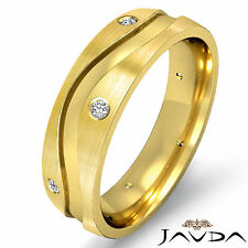 Center Curve Step Ring Eternity Wedding Diamond Mens Band 18k Yellow Gold 0.64Ct