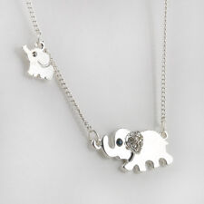 New Womens Charming Elephant Family Stroll Design Fashion Crystal Chain Necklace