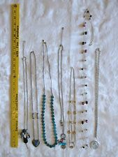 7 C Bead chain set LONG Necklace LOT gold silver tone beaded blue black green