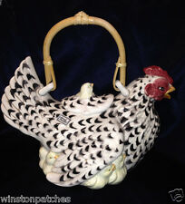 FITZ FLOYD 1990 POULET GIFTWARE TEAPOT & LID BLACK & WHITE HEN & YELLOW CHICKS