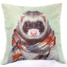 Home Decor Office Cotton Linen  Ferret Scarf Man Cushion Cover Pillow Sofa 45cm