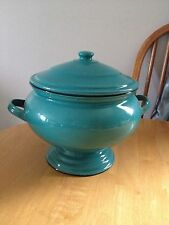 Vintage Enamelware Soup Tureen Pot Teal
