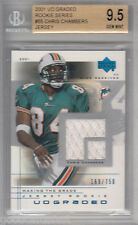 2001 UD Graded rc CHRIS CHAMBERS dolphins Rookie JERSEY card /750 BGS 9.5 10