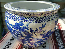High Quality Porcelain Asian Fish Bowl Vase with bleu and white theme 14""