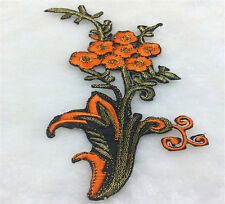 beautiful Orange Wild Flower Embroidery Iron On Applique Patch-Right DIY Craft
