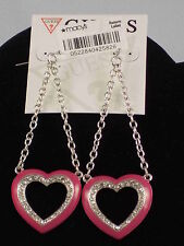 Guess Silvertone Guess Heart Attack Pink Enamel Rhinestone Heart Chain Earrings