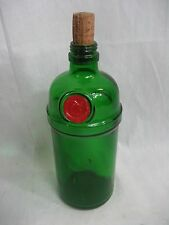 1930-50s Vintage Charles Tanqueray Green Gin Bottle with Top and Red Emblem