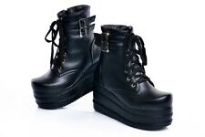 PUNK ROCK WOMENS RETRO BUCKLES PLATFORM CREEPER GOTH ANKLE BOOTS SHOES SIZE 4-11