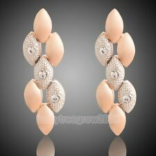 Noble 18K Rose Gold GP Swarovski Crystal  Leaves Fashion Stud Earring Q569