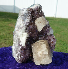 Uruguay Amethyst Quartz Crystal Points w/ Huge Calcite Cubes Self Standing