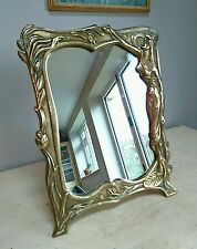 LARGE VINTAGE ART NOUVEAU BRASS FRAMED DRESSING TABLE MIRROR LADY FIGURE VANITY!