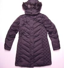 Kenneth Cole Women Hooded Chevron Quilt Down Puffer Jacket Coat S