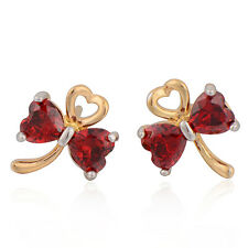2-Tone Gold Filled Women's Red Crystal Cute Silver bow Heart Stud Earrings
