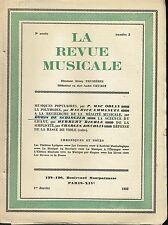 La Revue Musicale - Janvier  1928 - Henry Prunières