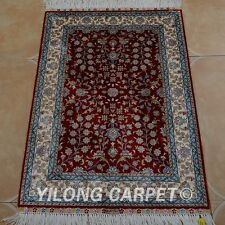 Yilong 2'x3' Silk Persian Handmade Rug Living Room Floral Classic Carpet 0434