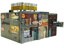 HO Scale Custom Built Painted Weathered Hobby Shop Auto Store Downtown Buildings