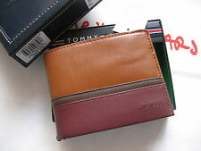 TOMMY HILFIGER Sadle/Oxblod Leather Mens Double billfold Wallet New in box