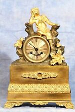 French Empire Figural Bronze Dore Ormolu Gilded Clock Early 19th Cent by Papire